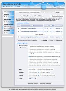 Grundschulstoff: mit dem Arbeitsblatt Generator einfach Arbeitsblätter erstellen.