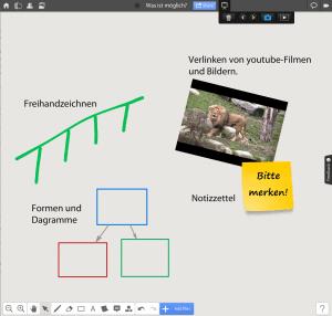 Sie haben einen Beamer und einen Computer zur Verfügung? Dann können Sie mit Realtimeboard spannende Whiteboardfolien erstellen und präsentieren. Registrierung und Nutzung sind kostenlos. Lernvideos veranschaulichen die Möglichkeiten.